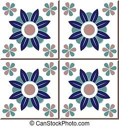 Ceramic tile pattern of elegant purple blue round flower kaleidoscope