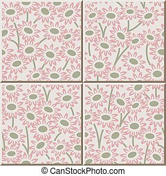 Ceramic tile pattern of garden pink daisy flower.