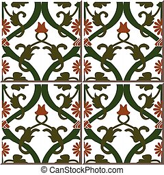 Ceramic tile pattern of garden retro round spiral flower vine
