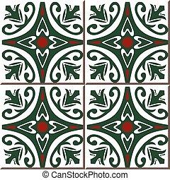 Ceramic tile pattern of garden round red flower green vine