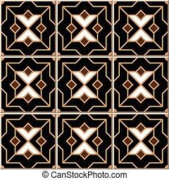 Ceramic tile pattern of Islam black golden cross star