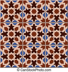 Ceramic tile pattern of Islamic brown geometry star shape kaleidoscope