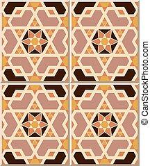 Ceramic tile pattern of Islamic geometry cross polygon star.