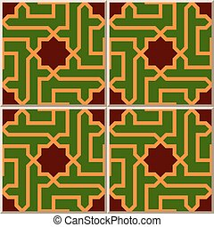 Ceramic tile pattern of Islamic star cross spiral geometry.