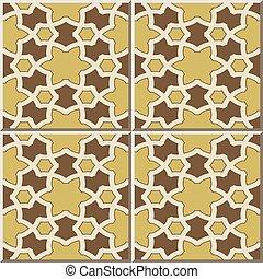 Ceramic tile pattern of Islamic star polygon geometry cross.