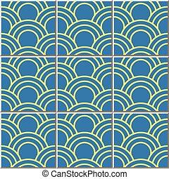 Ceramic tile pattern of oriental fish scale round curve line.