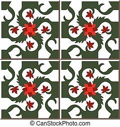 Ceramic tile pattern of red flower spiral green cross vine