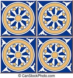 Ceramic tile pattern of retro blue round cross spiral flower