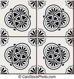 Ceramic tile pattern of retro blue round line cross flower
