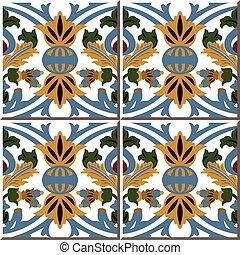 Ceramic tile pattern of retro botanic garden round curve flower leaf
