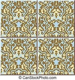 Ceramic tile pattern of retro flower leaf