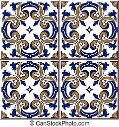 Ceramic tile pattern of retro garden round spiral flower cross kaleidoscope