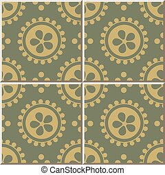 Ceramic tile pattern of retro golden and green round flower