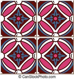 Ceramic tile pattern of retro pink round cross flower