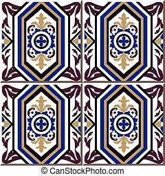 Ceramic tile pattern of retro purple polygon cross round flower