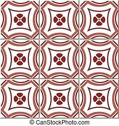 Ceramic tile pattern of retro red round cross flower