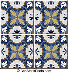 Ceramic tile pattern of retro round blue flower cross chain