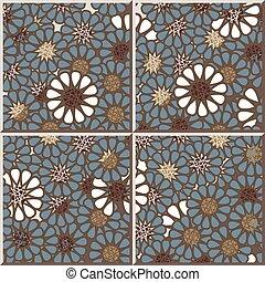 Ceramic tile pattern of retro round daisy flower