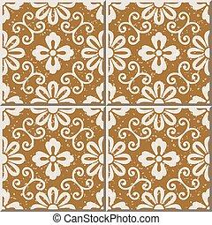 Ceramic tile pattern of retro spiral vine round flower