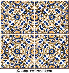 Ceramic tile pattern of retro square round octagon cross flower