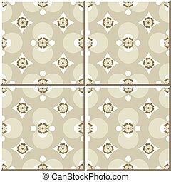 Ceramic tile pattern of round kaleidoscope flower