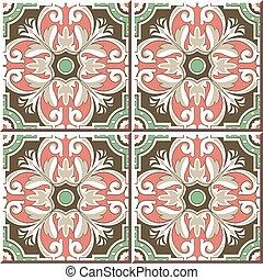 Ceramic tile pattern of round spiral retro green pink cross flower