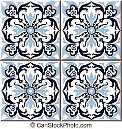 Ceramic tile pattern of spiral round blue flower kaleidoscope