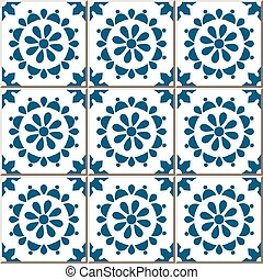 Ceramic tile pattern of vintage blue round cross flower.
