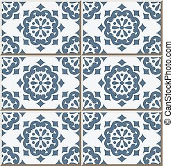 Ceramic tile pattern of vintage blue round flower.