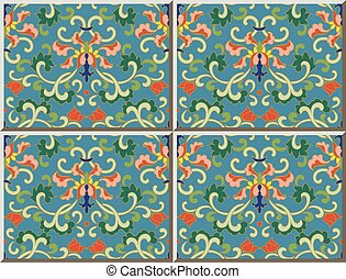 Ceramic tile pattern oriental Chinese botanic spiral flower ...