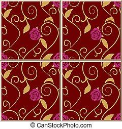 Ceramic tile pattern spiral gold leaf vine purple pink rose flower