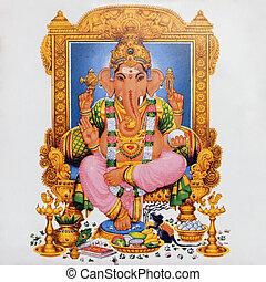 ceramic tile with image of hindu deity Ganesha ( called also :Ganesa Ganesh, Ganapati Vinayaka, Pillaiyar )