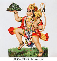 hindu deity Hanuman ( Monkey God) - ceramic tile with image...
