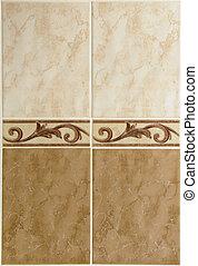Brown ceramic tiles closeup (design element)