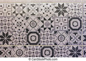 Close up of colorful bathroom ceramic tiles