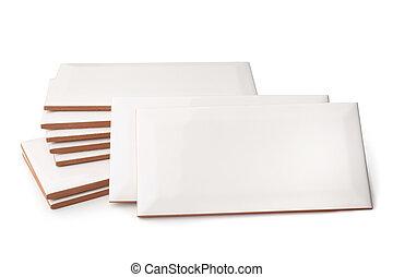 Ceramic tiles on white background