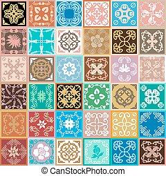 Ceramic tiles set.