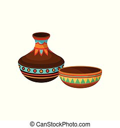 Ceramic vase and bowl, authentic symbol of Africa with ethnic ornament vector Illustration on a white background
