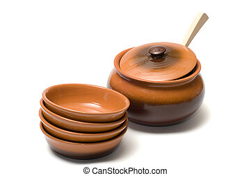 Ceramic ware. - Brown ceramic ware on a white background.