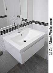 Ceramic wash basin in bathroom - Ceramic wash basin in...