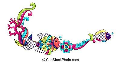 ceramica, decorativo, ingenuo, carino, art., cornice, ...