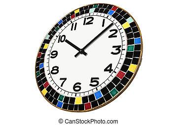 ceramica, pezzi, circondato, rotondo, orologio