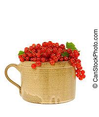 ceramica, tazza, pieno, di, fresco, rosso, curra
