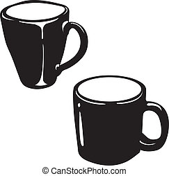 ceramica, vettore, silhouette, tazza