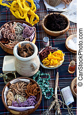 Ceramics and wooden bowls