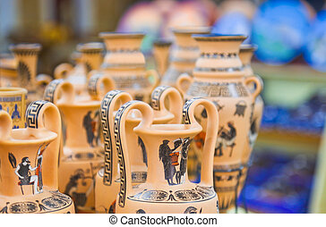 Ceramics souvenir shop - shopping background