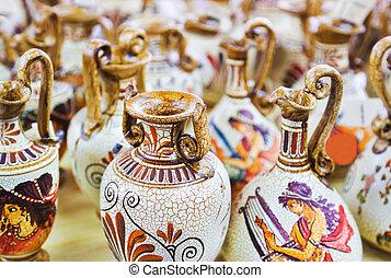 Ceramics souvenir shop - abdtract shopping background