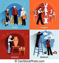 ceramist, 2x2, set, schilder, beeldhouwer