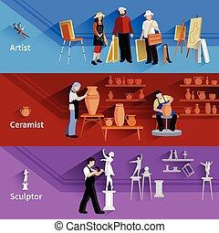 ceramist, banieren, beeldhouwer, kunstenaar