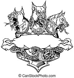 cerberus, テンプレート, デザイン, 黒, 白